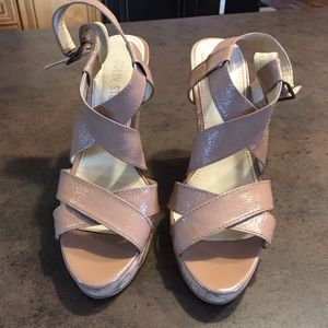 Colin Stuart Strappy Patent Leather Wedge Sandals